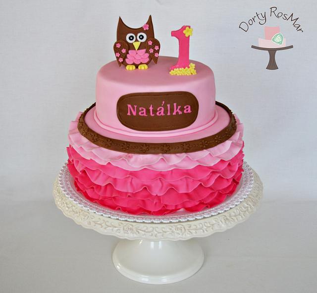Superb First Birthday Owl Cake Cake By Martina Cakesdecor Personalised Birthday Cards Akebfashionlily Jamesorg