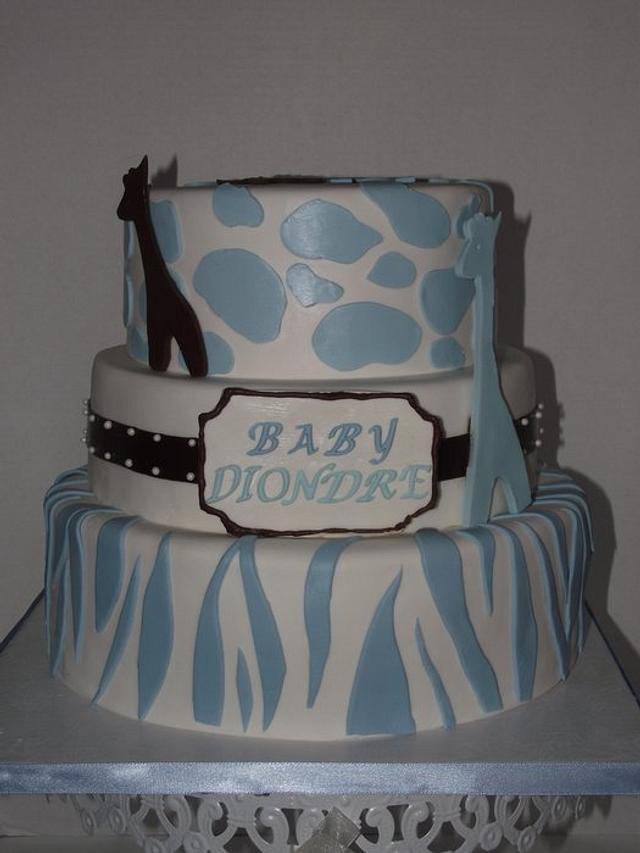 Giraffe and Zebra Print Baby Shower Cake