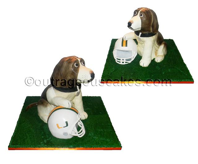 3d sculpted beagle cake