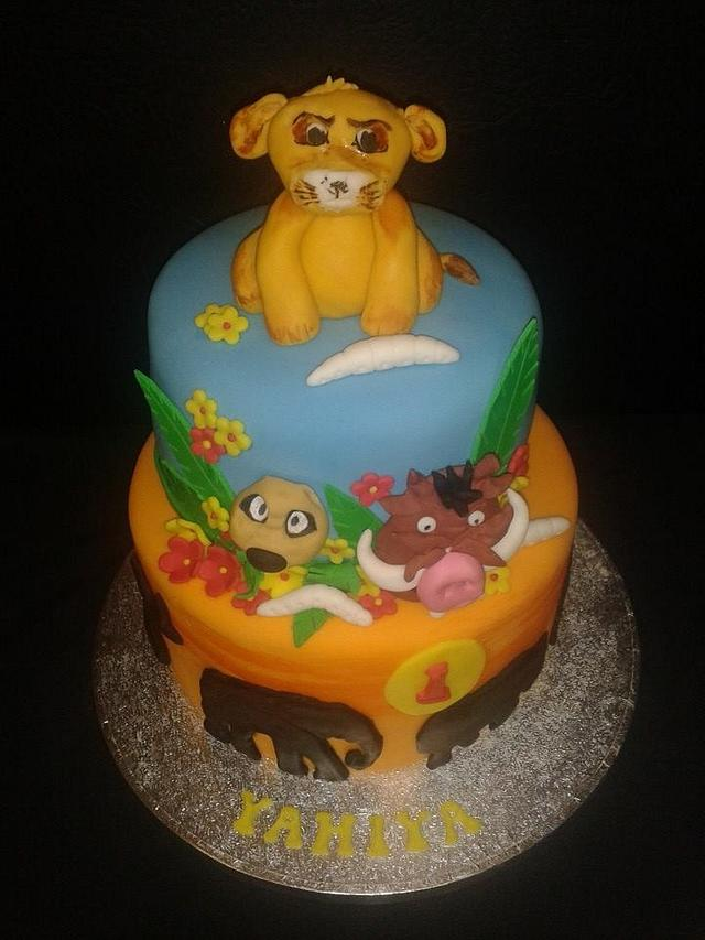 Lion king 2 tier birthday cake