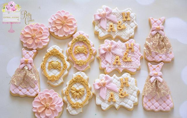 Vintage gold and pink engagement cookies