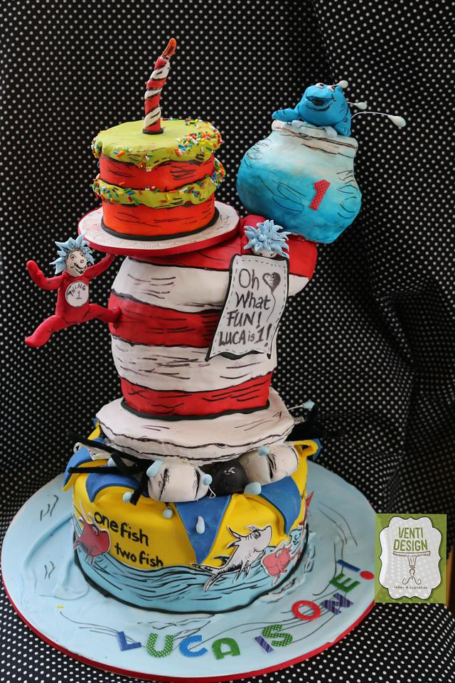 Fabulous Dr Seuss First Birthday Cake Cake By Ventidesign Cakes Cakesdecor Funny Birthday Cards Online Aeocydamsfinfo