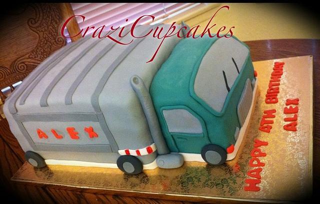 Remarkable Garbage Truck 4Th Birthday Cake Cake By Megan Cazarez Cakesdecor Personalised Birthday Cards Veneteletsinfo