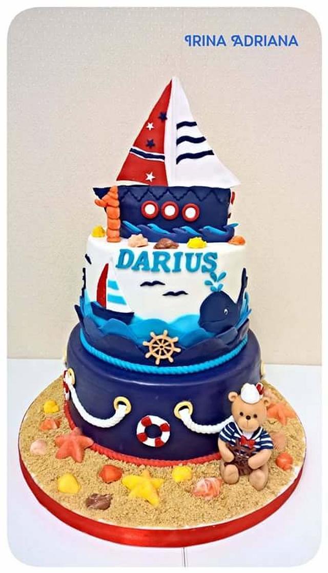 Marvelous Navy First Birthday Cake Cake By Irina Adriana Cakesdecor Funny Birthday Cards Online Inifodamsfinfo