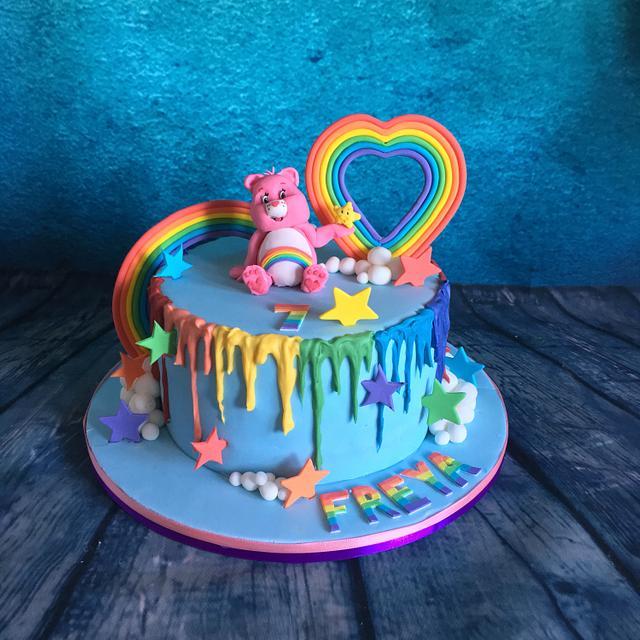Rainbow care bear cake