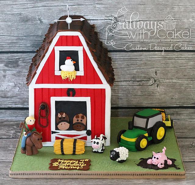 Fabulous Farm W Barn 1St Birthday Cake Cake By Alwayswithcake Cakesdecor Personalised Birthday Cards Veneteletsinfo