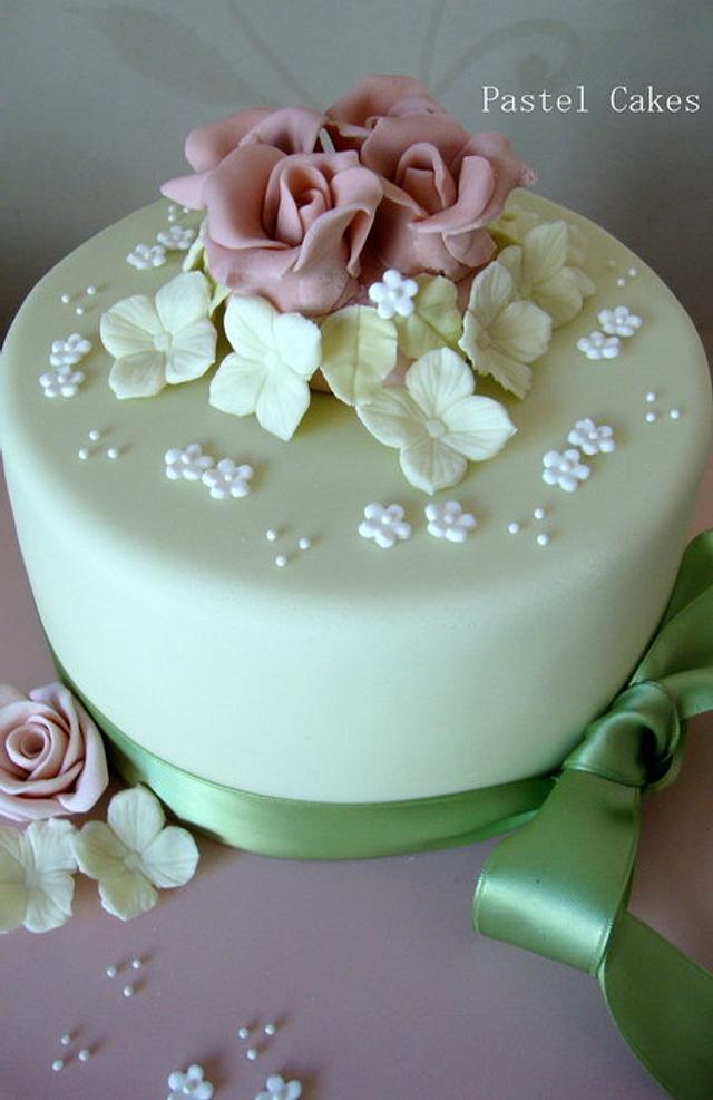 Rose and hydrangea birthday cake
