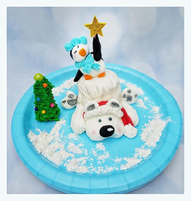 Mini holiday polar bear and penguin