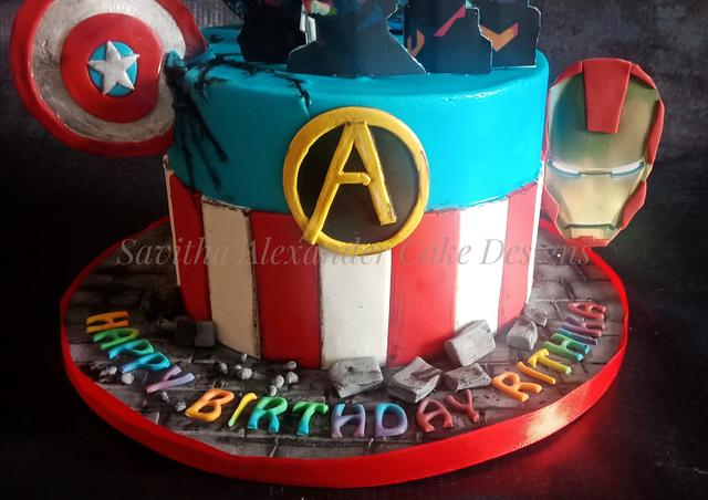 Avengers and coldplay themed cake