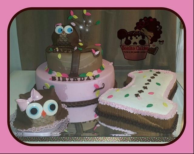 Tremendous 1St Bday Owl Cake Cake By Bonito Cakes Arte Q Se Puede Cakesdecor Funny Birthday Cards Online Amentibdeldamsfinfo