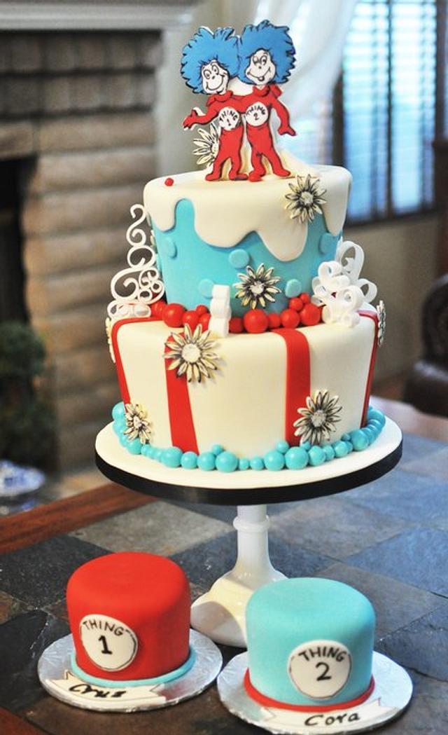 Thing 1 &Thing 2 Twins' Birthday Cake