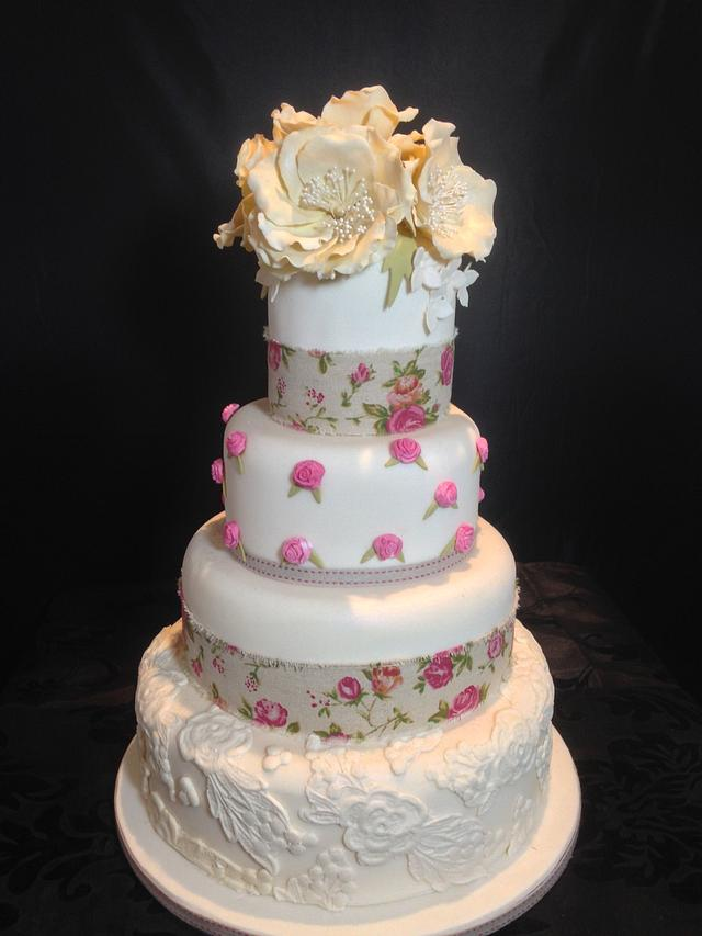 4 Tier Peony Wedding Cake with Lace and Hessian Burlap