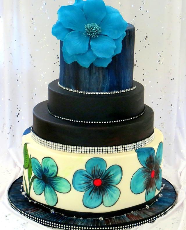 Hand painted wedding cake