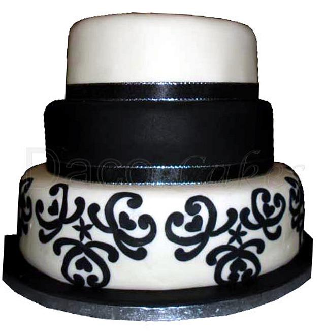3 Tier Black and White Cake