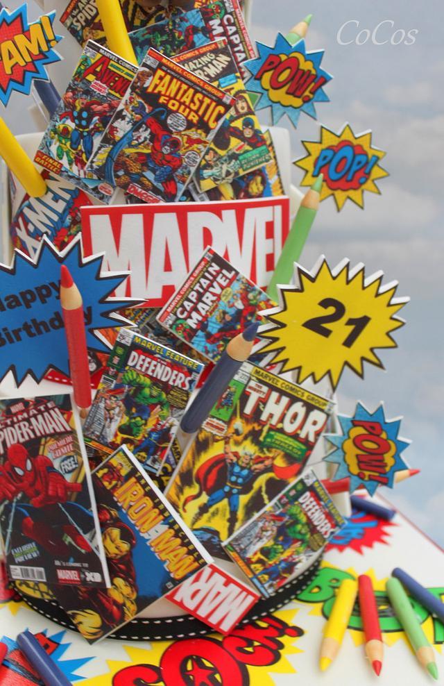 Super hero comic book cake
