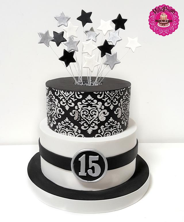 Awesome Quinceanera In Black White And Silver Cake By Milebian Cakesdecor Personalised Birthday Cards Epsylily Jamesorg