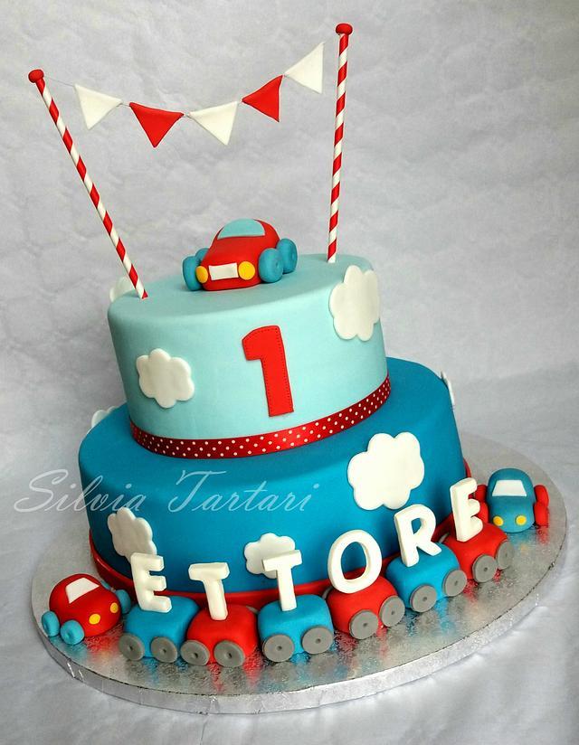 Fantastic 1St Birthday Cake Cars Theme Cake By Silvia Tartari Cakesdecor Personalised Birthday Cards Veneteletsinfo