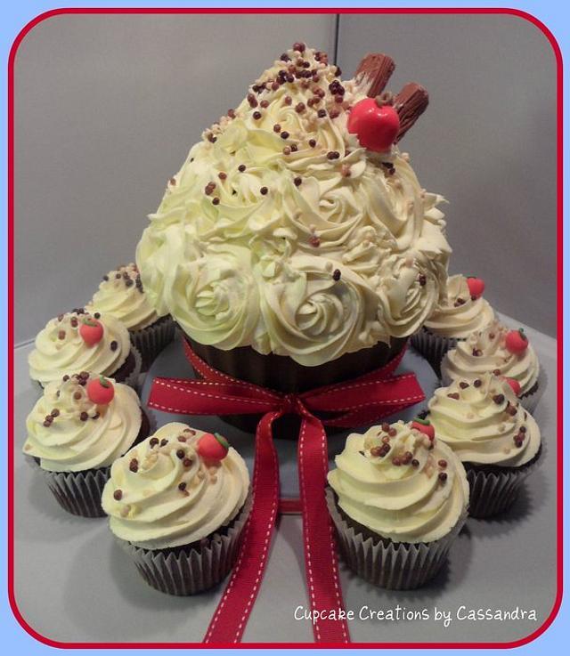 Giant Cupcake Ice Cream Sundae