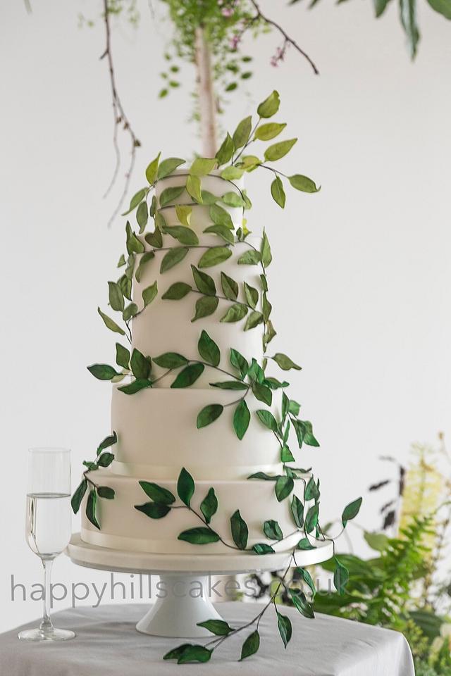 Green ombre leaf wedding cake