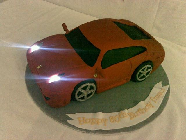 3D Ferrari cake with working lights