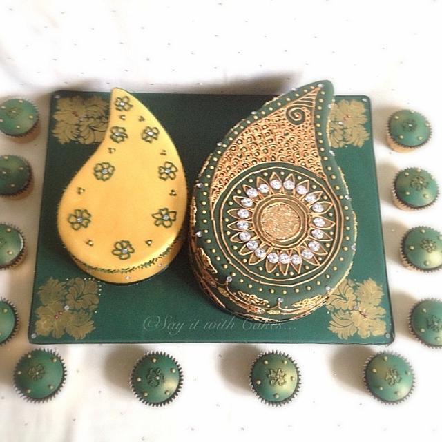 Paisley shaped antique gold & emerald henna ceremony cake