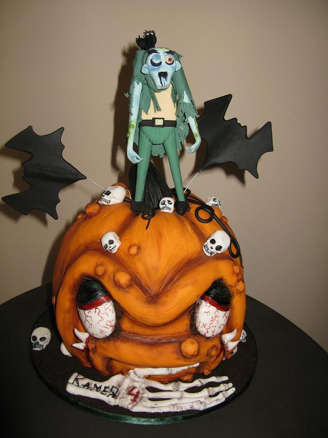 Astounding Scary Pumpkin Birthday Cake Cake By Delice Cakesdecor Funny Birthday Cards Online Alyptdamsfinfo