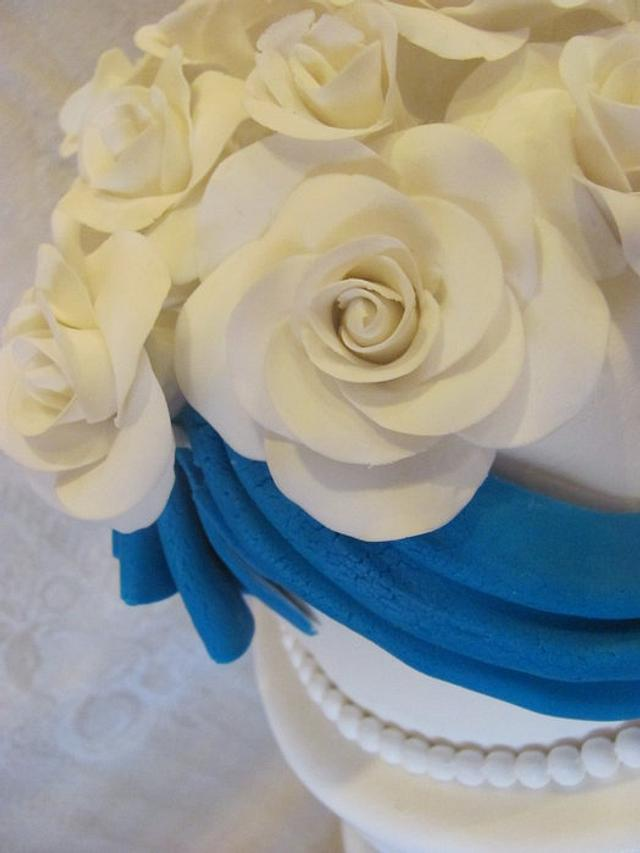 Blue Swaggs and White Roses