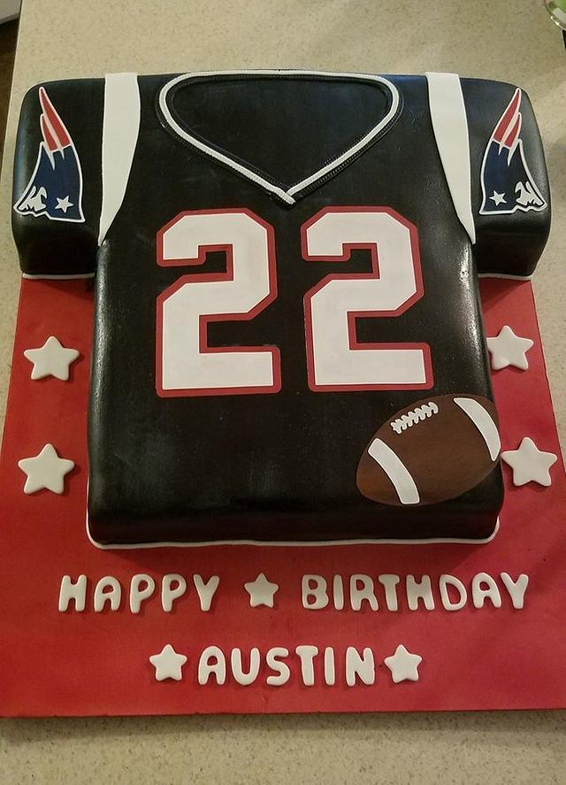Super New England Patriots Jersey Cake Cake By Tootiebug Cakesdecor Funny Birthday Cards Online Elaedamsfinfo