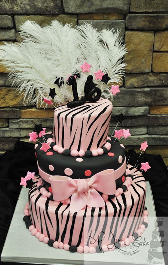 Amazing Zebra Print Sweet 16 Birthday Cake Cake By Leo Cakesdecor Funny Birthday Cards Online Alyptdamsfinfo