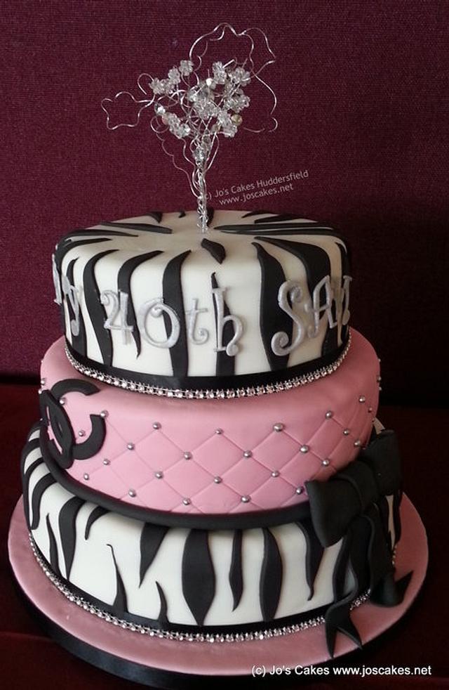 3 Tier Zebra and Pink Birthday Cake