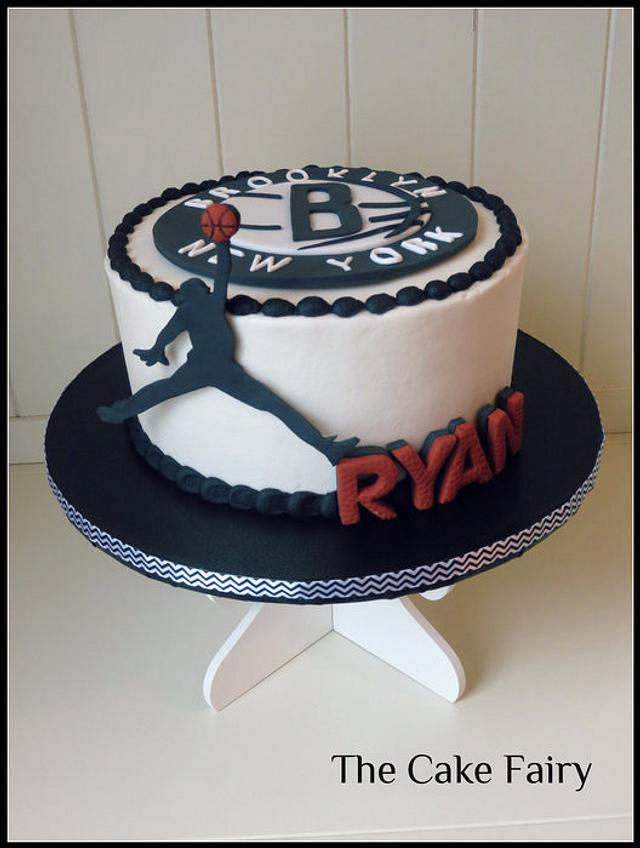 Brooklyn Nets cake with Michael Jordan silhouette