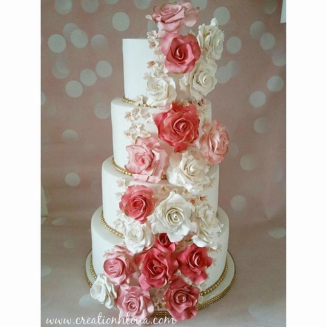 wedding cake cascade de rose