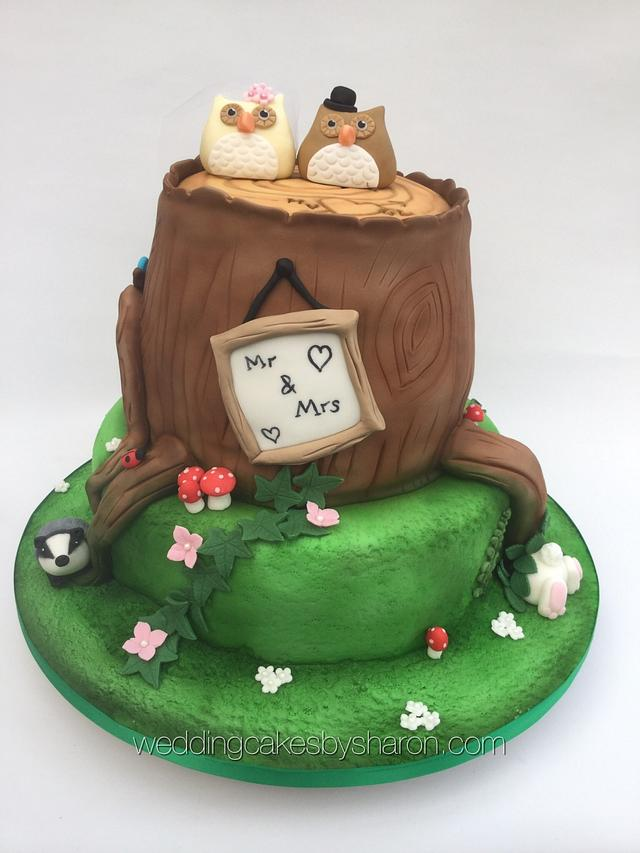 Tree stump/owl wedding cake