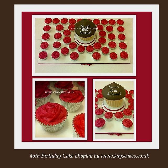 40th Birthday Cupcake Display