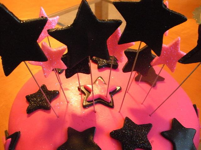 Hot Pink/Black Star Cake