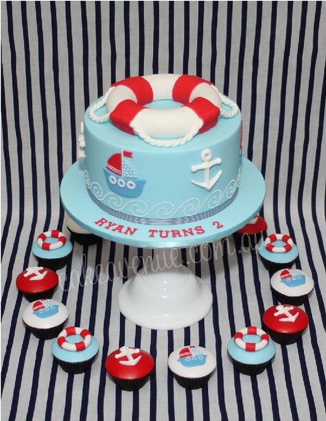 Nautical Themed Cake & Cupcakes
