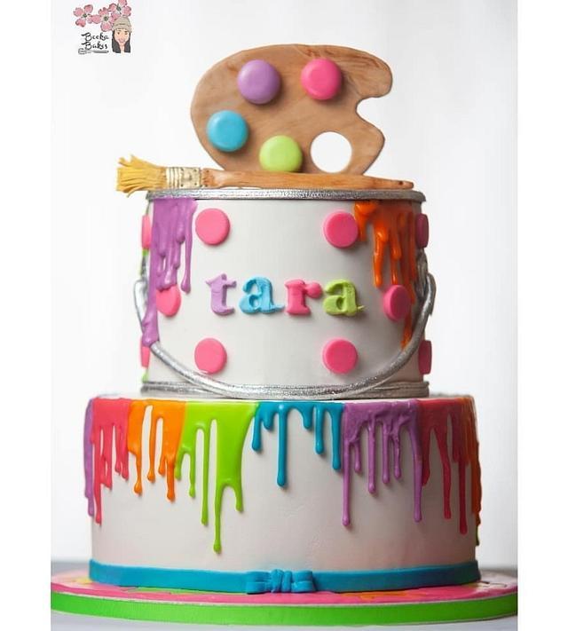 Marvelous Paint Splatter Cake By Shanita Cakesdecor Personalised Birthday Cards Sponlily Jamesorg