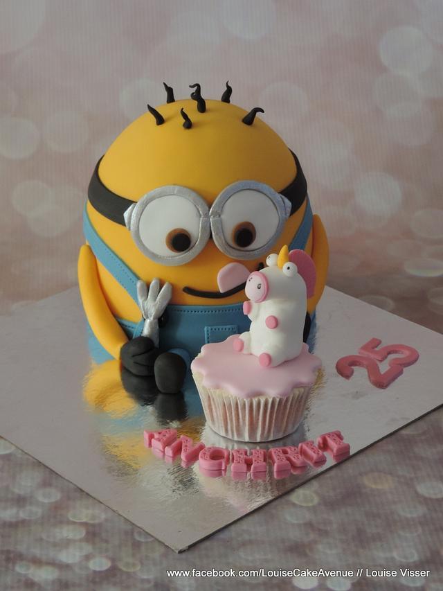 minion cake with fluffy unicorn