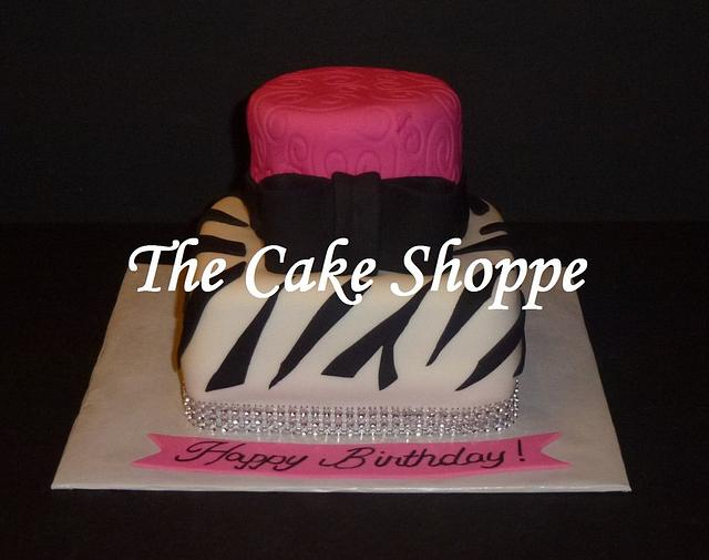 zebra and bling cake