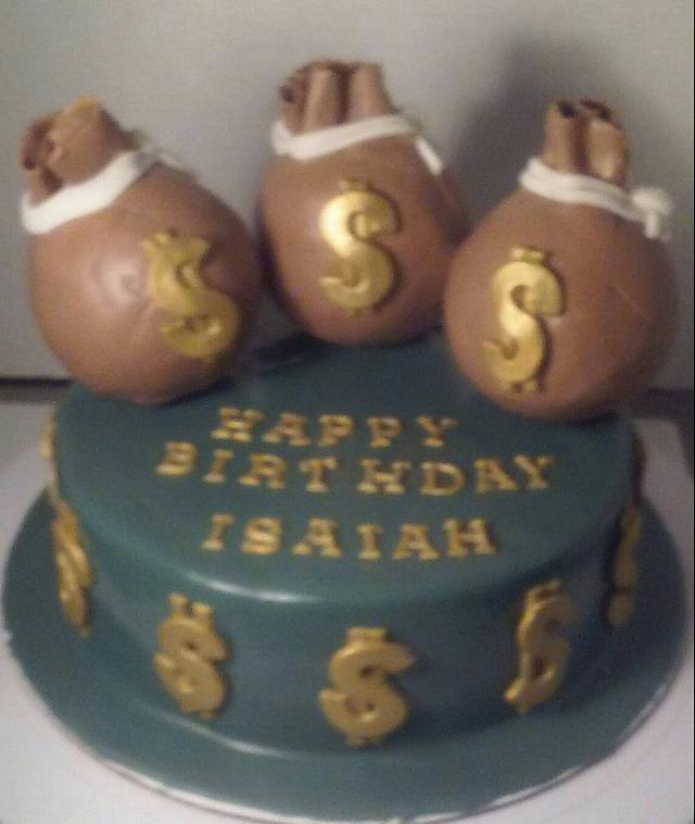 Marvelous Money Bag Birthday Cake Cake By Givethemcake Cakesdecor Personalised Birthday Cards Veneteletsinfo