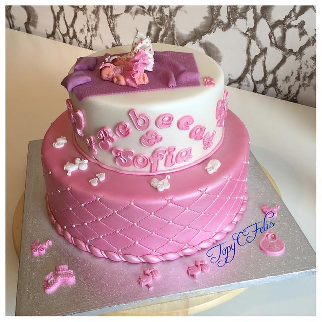 Christening cake for twin girls