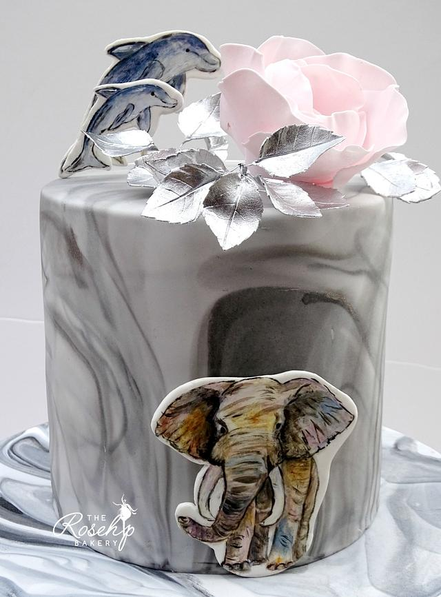 Magnificent Pink And Silver Birthday Cake With Elephant And Cakesdecor Funny Birthday Cards Online Amentibdeldamsfinfo