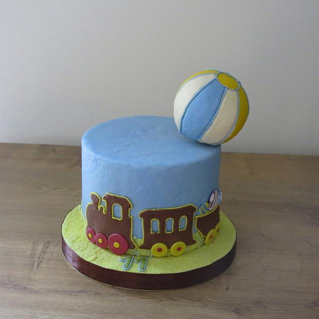Awesome Beach Ball Cargo Train Cake By The Garden Baker Cakesdecor Birthday Cards Printable Benkemecafe Filternl