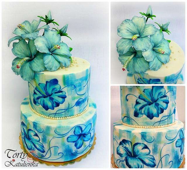 Hibiscus cake - Hand painted