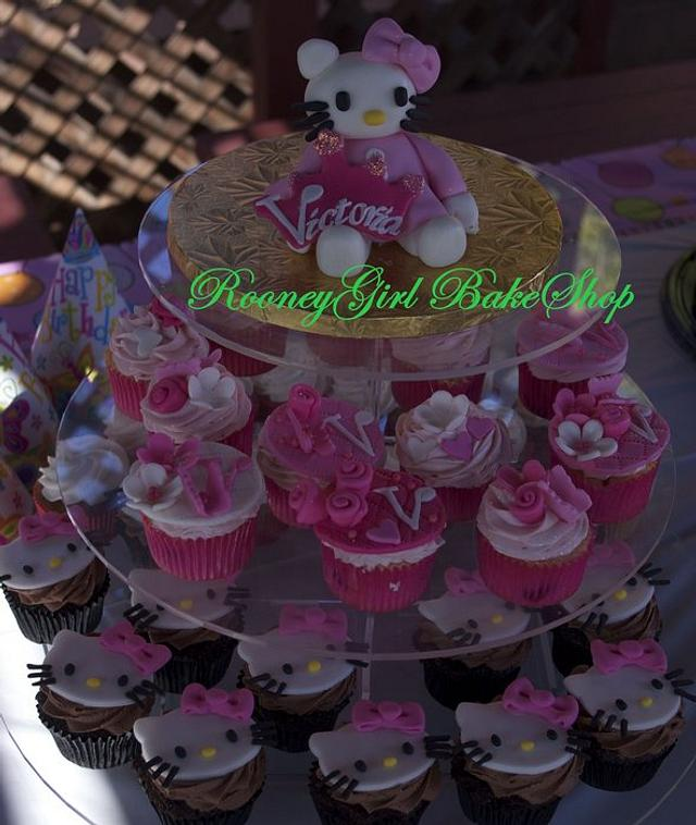 Hello Kitty and Vintage Style Cupcakes