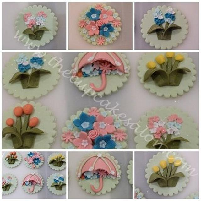 floreal cupcake toppers