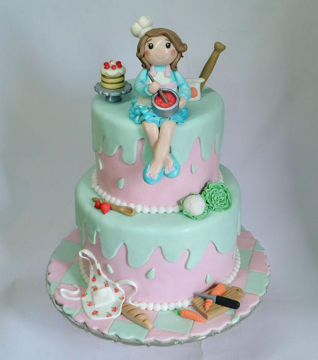 Lady chef cake