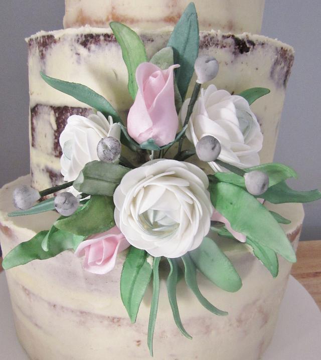 Sugarflowered Semi Naked Wedding Cake