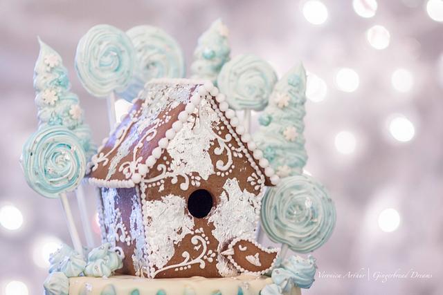 Blue Gingerbread Birdhouse Drip Cake