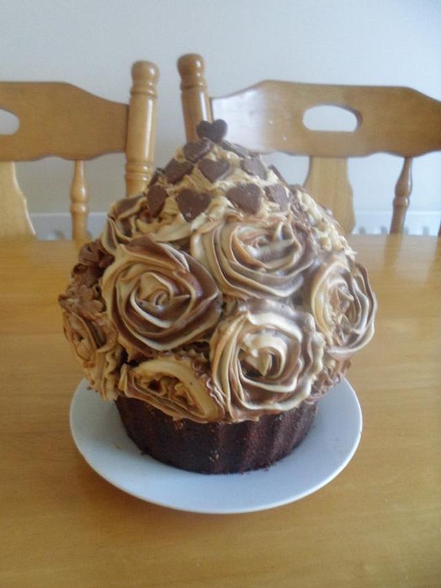 Chocolate and Coffee Giant Cupcake